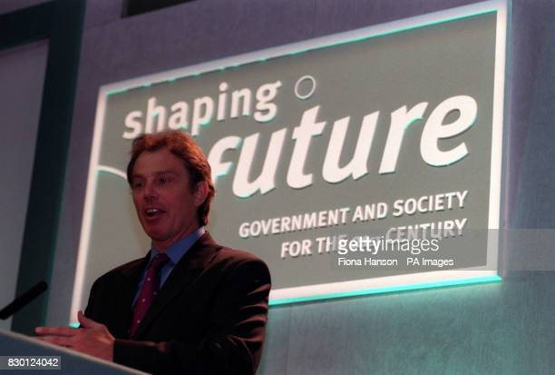 British Prime Minister Tony Blair speaking during the 10th IPPR conference on 'Shaping the Future Government and Society for the 21st Century' at the...