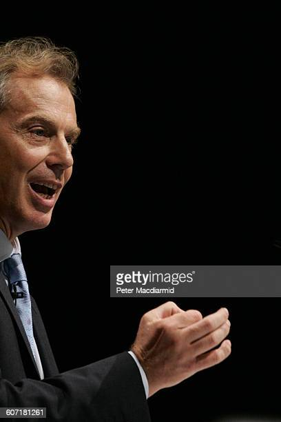 British Prime Minister Tony Blair speaks at the Trades Union Congress conference Brighton England September 13 2004