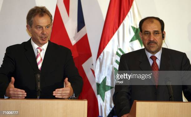 British Prime Minister Tony Blair speaks during a joint news conference with new Iraqi Prime Minister Nuri alMaliki May 22 2006 in the heavily...