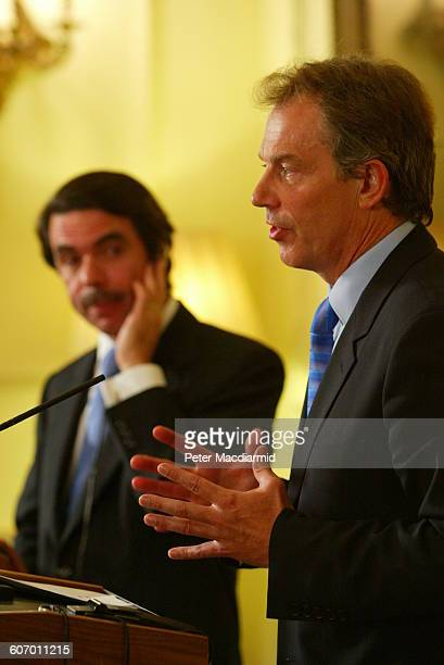 British Prime Minister Tony Blair speaks during an event with Spanish Prime Minster Jose Maria Aznar at 10 Downing Street London England April 23 2003