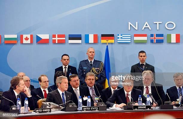 BRUSSELS BELGIUM FEBRUARY 22 British Prime Minister Tony Blair US President George Bush and Ukrainian Prime Minister Viktor Yushenko attend the NATO...