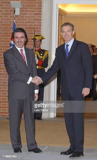 British Prime Minister Tony Blair visits Spanish President Jose Maria Aznar at the Palacio de la Moncloa in Madrid before flying to Washington to...