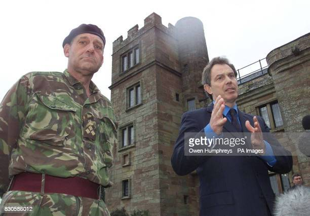 British Prime Minister Tony blair with Brigadier Alex Birtwistle at Dalston Hall in Cumbria as Mr Blair meets with Army and Maff officials