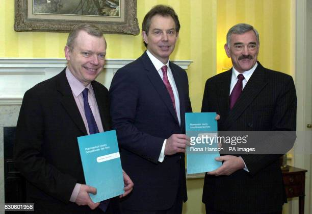British Prime Minister Tony Blair with the Chief Executive Officer of Astra Zeneca Dr Tom McKillop and Lord Hunt the Parliamentary Under Secretary to...
