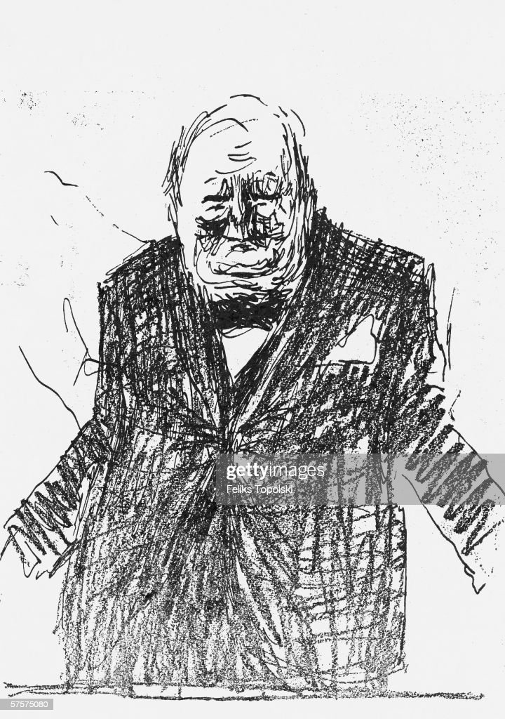 British prime minister <a gi-track='captionPersonalityLinkClicked' href=/galleries/search?phrase=Winston+Churchill+-+Prime+Minister&family=editorial&specificpeople=92991 ng-click='$event.stopPropagation()'>Winston Churchill</a> (1874 - 1965). A sketch by Polish-born British expressionist Feliks Topolski, published in Topolski's Chronicle No 2 Vol I, 1953.
