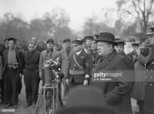 British Prime Minister Winston Churchill addresses the returning 1300 officers and men of HMS Hardy at Horse Guards Parade London 19th April 1940...