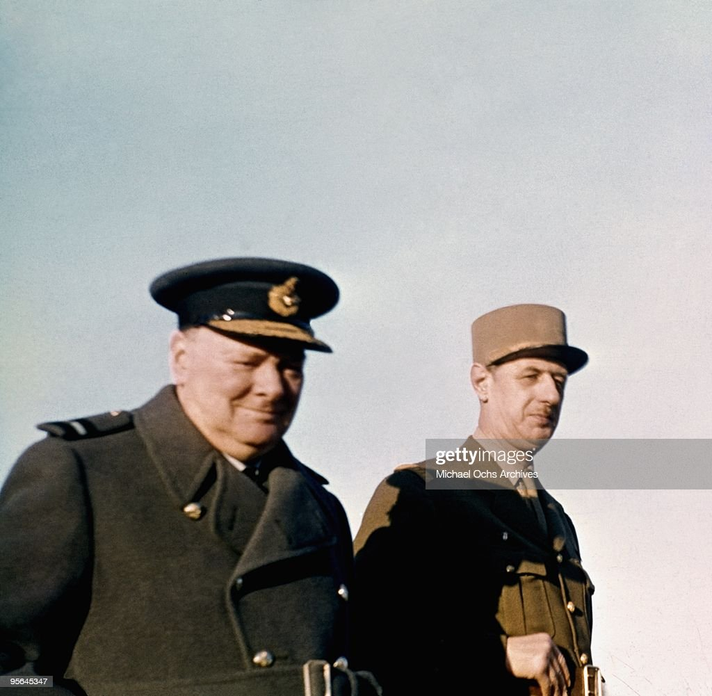 British Prime Minister <a gi-track='captionPersonalityLinkClicked' href=/galleries/search?phrase=Winston+Churchill+-+Prime+Minister&family=editorial&specificpeople=92991 ng-click='$event.stopPropagation()'>Winston Churchill</a> and leader of the Free French General Charles de Gaulle prepare for the invasion of France in January 1944 in Marrakesh, Morocco .