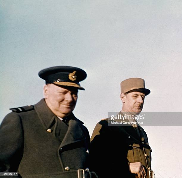 British Prime Minister Winston Churchill and leader of the Free French General Charles de Gaulle prepare for the invasion of France in January 1944...