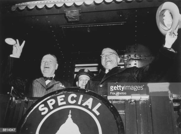 British Priminister Winston Churchill and US President Harry S Truman leave for Fulton Missouri where Churchill made his famous 'Iron Curtain' speech...