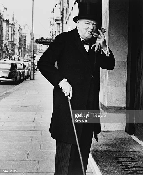 British prime minister Winston Churchill arrives at Claridges Hotel in London 13th May 1952