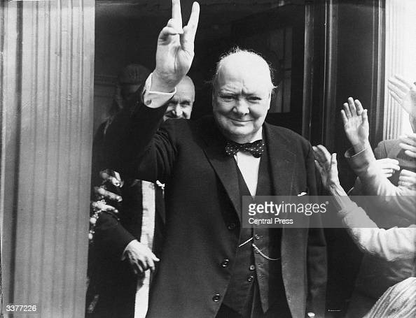 British Prime Minister Winston Churchill giving his famous wartime Vsign at Dover