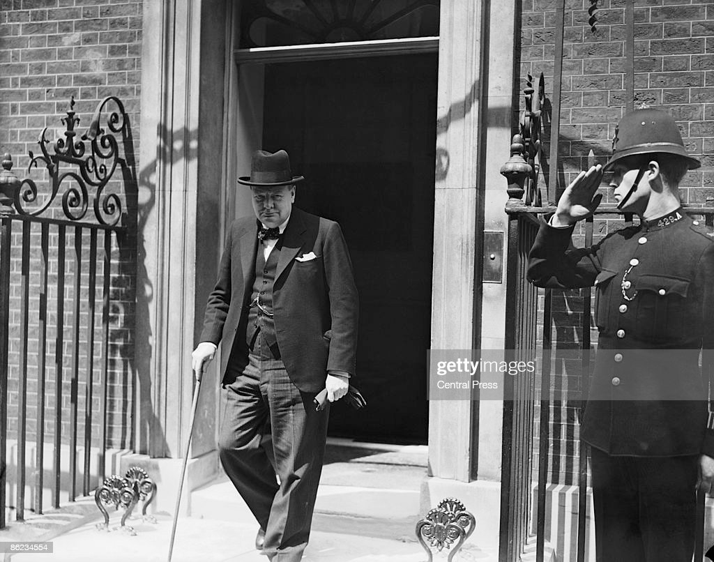 British Prime Minister <a gi-track='captionPersonalityLinkClicked' href=/galleries/search?phrase=Winston+Churchill+-+Prime+Minister&family=editorial&specificpeople=92991 ng-click='$event.stopPropagation()'>Winston Churchill</a> (1874 - 1965) leaves 10 Downing Street after a meeting, 15th May 1940.