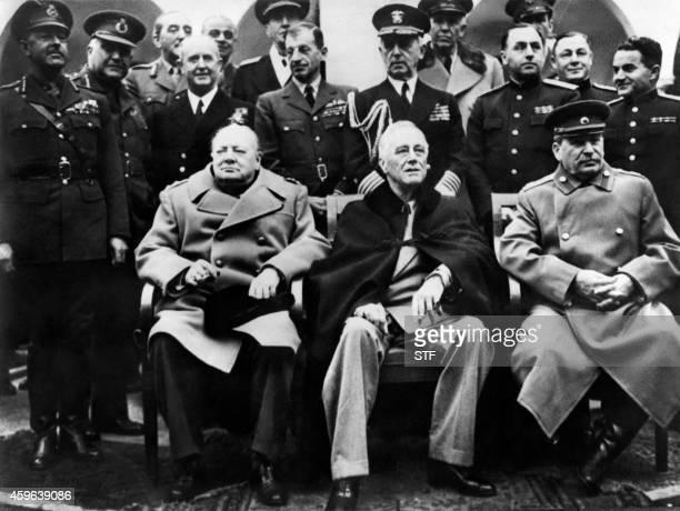 British Prime minister Winston Churchill US president Franklin Delano Roosevelt and USSR Secretary general of the Soviet Communist Party Joseph...
