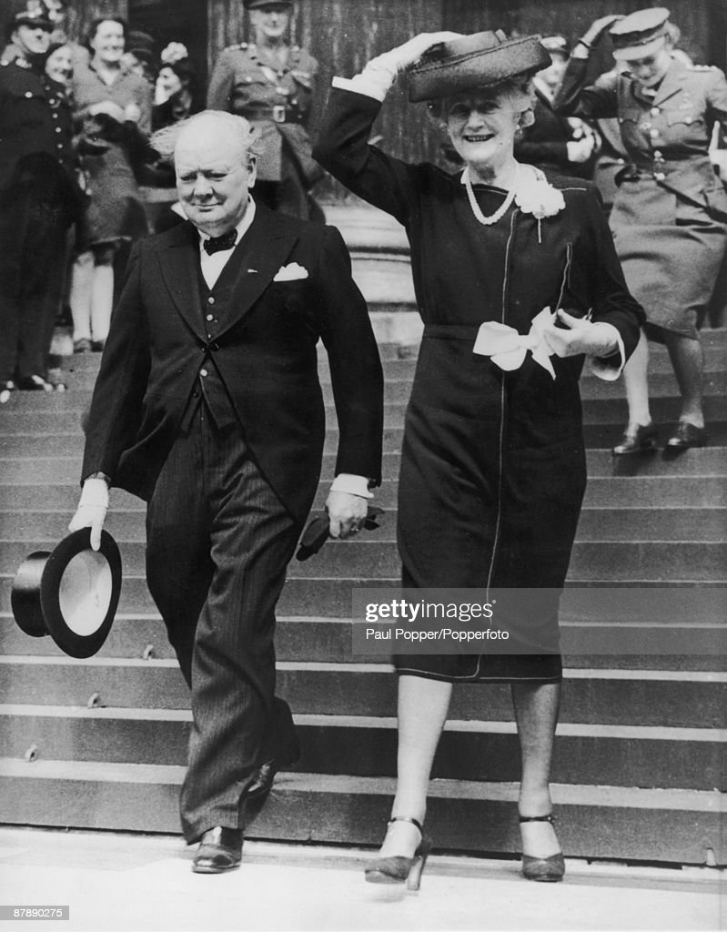 British Prime Minister, <a gi-track='captionPersonalityLinkClicked' href=/galleries/search?phrase=Winston+Churchill+-+Prime+Minister&family=editorial&specificpeople=92991 ng-click='$event.stopPropagation()'>Winston Churchill</a> (1874 - 1965, centre) with his wife Clementine (1885 - 1977) leaving a thanksgiving service at St Paul's Cathedral, held on the first Sunday after VE Day, London, 13th May 1945.