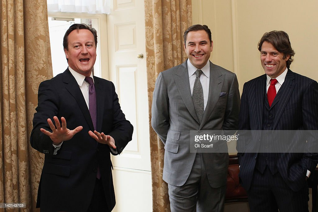 British Prime Minster David Cameron (L) meets with comedians John Bishop (R) and David Walliams (C) inside Number 10 Downing Street on March 30, 2012 in London, England. The four celebrities met with British Prime Minister David Cameron to discuss their individual efforts to raise money for the Sport Relief.
