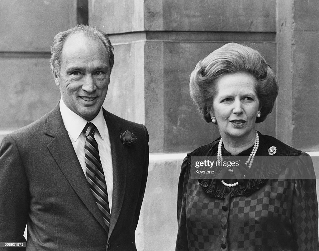 British Prime Minster Margaret Thatcher and her Canadian counterpart Pierre Trudeau outside Lancaster house for the start of the Economic Summit...