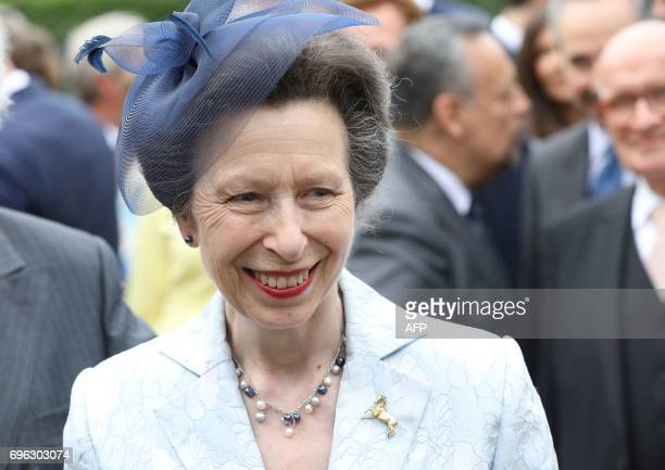 British Princess Anne arrives in Hamburg northern Germany on June 15 2017 to attend a party marking the 91st Birthday of the Queen PHOTO / POOL /...
