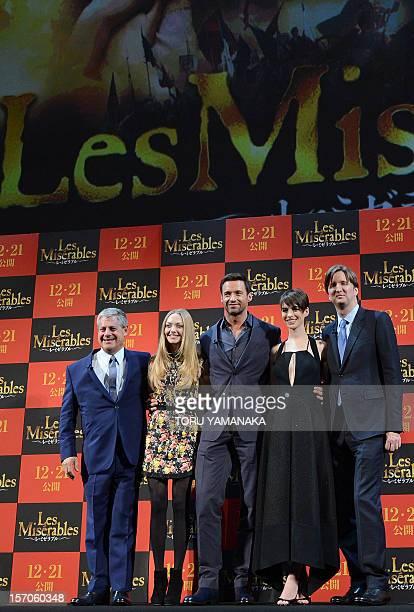 British producer Cameron Mackintosh US actress Amanda Seyfreid Australian actor Hugh Jackman US actress Anne Hathaway and British director Tom Hooper...
