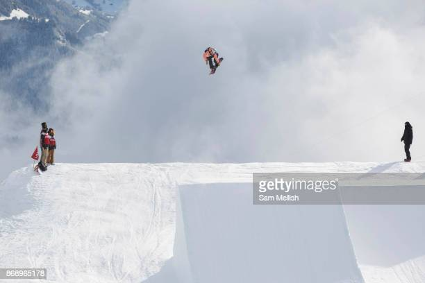 British professional snowboarder Katie Ormerod during the 2017 Laax Open Slopestyle competition on 15th January 2017 in Laax Switzerland The Laax...