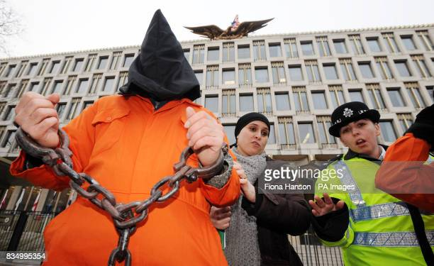 British protesters against the American detention centre at Guantanamo Bay in Cuba stage a protest outside the US Embassy in London's Grosvenor Square