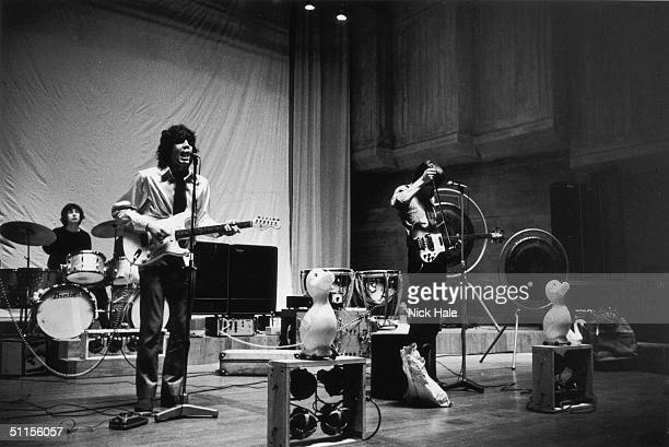British psychedelic rock group Pink Floyd during rehearsals for the group's first concept show 'Games for May' at the Queen Elizabeth Hall in London...