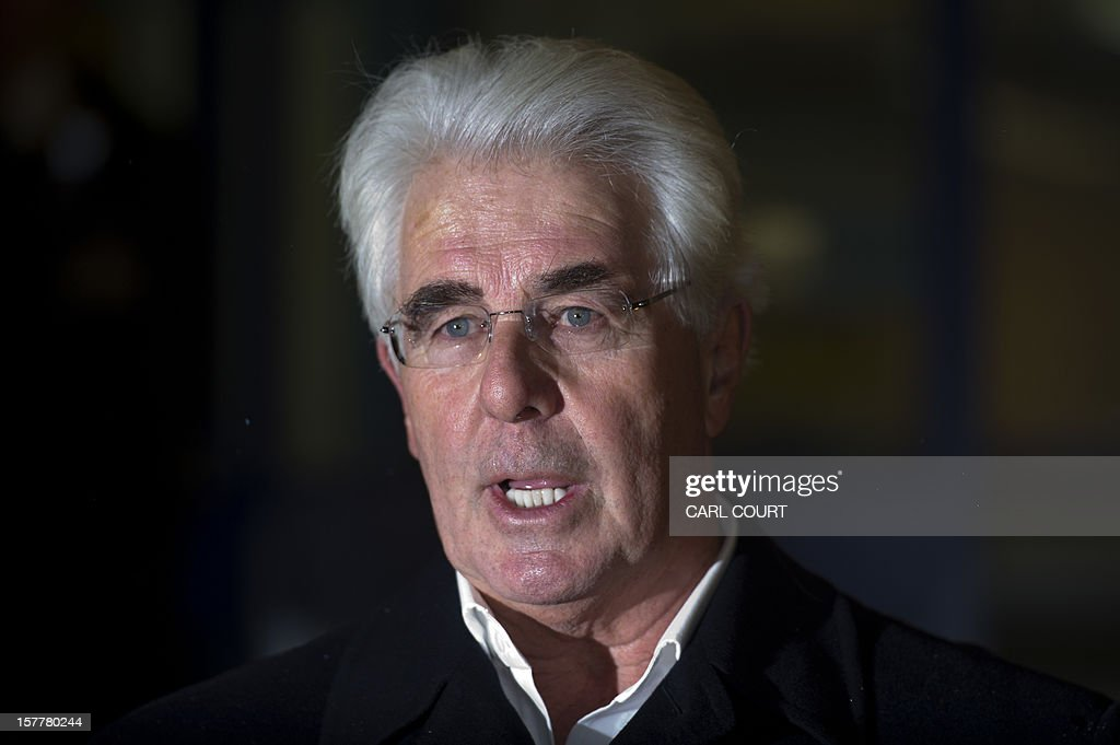 British publicist Max Clifford makes a statement as he leaves a police station in central London on December 6, 2012 after he was released on bail following his arrest on suspicion of alleged sexual offences. Clifford on December 6 said in a statement to journalists that allegations of sexual abuse against him were 'totally untrue' following his arrest by police earlier in the day. Clifford was arrested as part of a wider investigation into sex offences sparked by allegations that late BBC presenter Jimmy Savile was a serial paedophile.