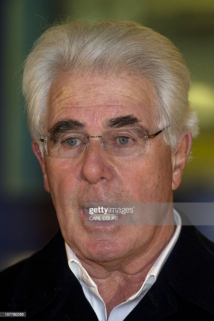 British publicist Max Clifford makes a statement as he leaves a police station in central London on December 6, 2012 after he was released on bail following his arrest on suspicion of alleged sexual offences. Clifford on December 6 said in a statement to journalists that allegations of sexual abuse against him were 'totally untrue' following his arrest by police earlier in the day. Clifford was arrested as part of a wider investigation into sex offences sparked by allegations that late BBC presenter Jimmy Savile was a serial paedophile. AFP PHOTO / CARL COURT