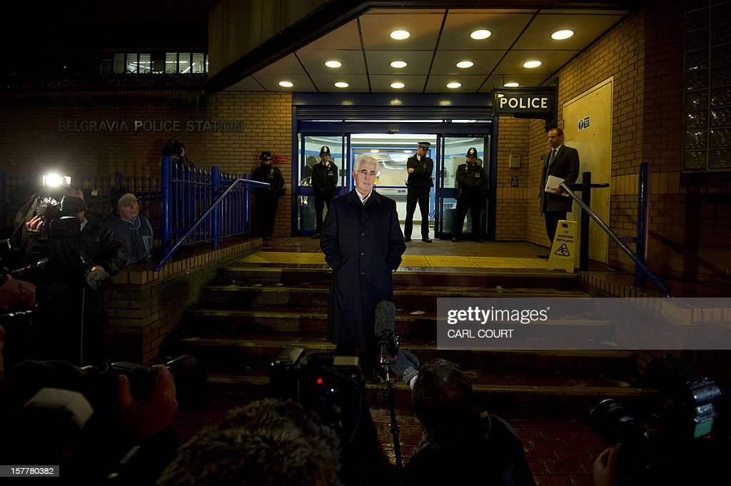 British publicist Max Clifford speaks on the steps of a police station in central London on December 6, 2012 after he was released on bail following his arrest on suspicion of alleged sexual offences. Clifford on December 6 said in a statement to journalists that allegations of sexual abuse against him were 'totally untrue' following his arrest by police earlier in the day. Clifford was arrested as part of a wider investigation into sex offences sparked by allegations that late BBC presenter Jimmy Savile was a serial paedophile.