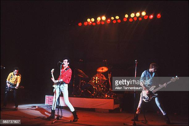 British punk rock group the Clash from left Joe Strummer Mick Jones Topper Headon and Paul Simenon perform at the Palladium New York New York...