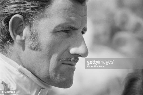 British racing driver Graham Hill at the Grand Prix trials being held at Silverstone Northamptonshire 1969