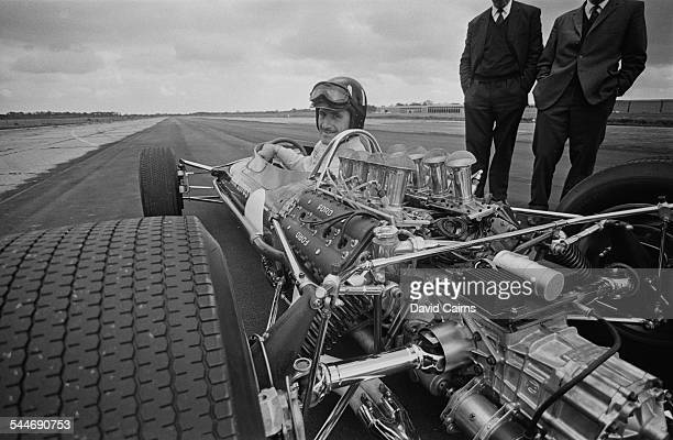 British racing driver Graham Hill in the driving seat of the new Lotus with Cosworth DFV engine 22nd May 1967