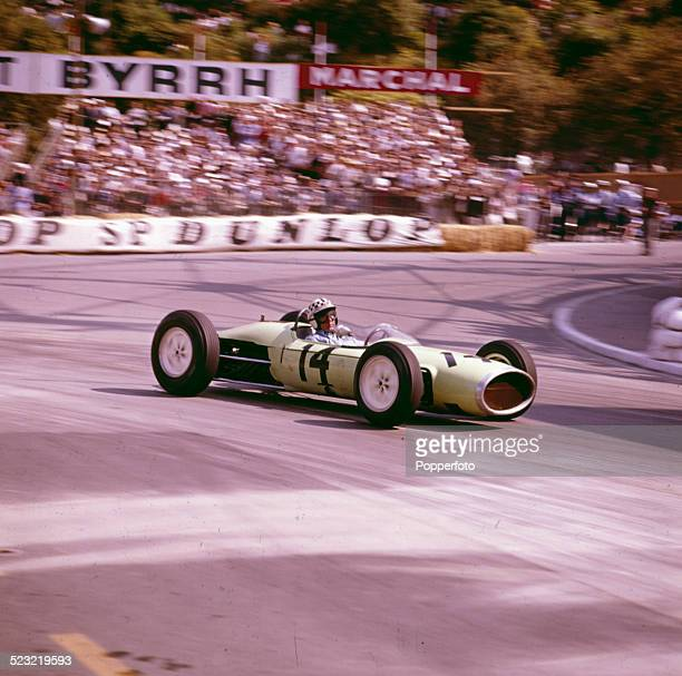 British racing driver Innes Ireland drives a LotusBRM car on the street circuit in the Monaco Grand Prix in Monte Carlo Monaco on 26th May 1963
