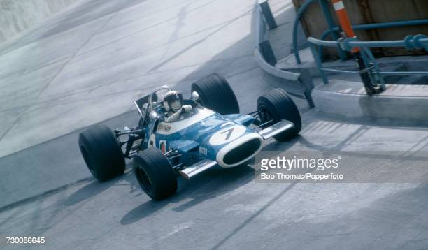 British racing driver Jackie Stewart drives the Matra International Matra MS80 Ford Cosworth DFV in the 1969 Monaco Grand Prix at the Circuit de...