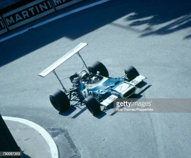 British racing driver Jackie Stewart drives the Matra International Matra MS80 Ford Cosworth DFV in practice on 15th May prior to competing in the...