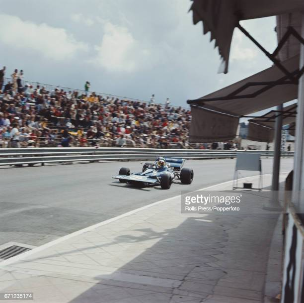 British racing driver Jackie Stewart drives the Tyrrell 003 Ford Cosworth DFV for Elf Team Tyrrell to finish in first place to win the 1971 Monaco...