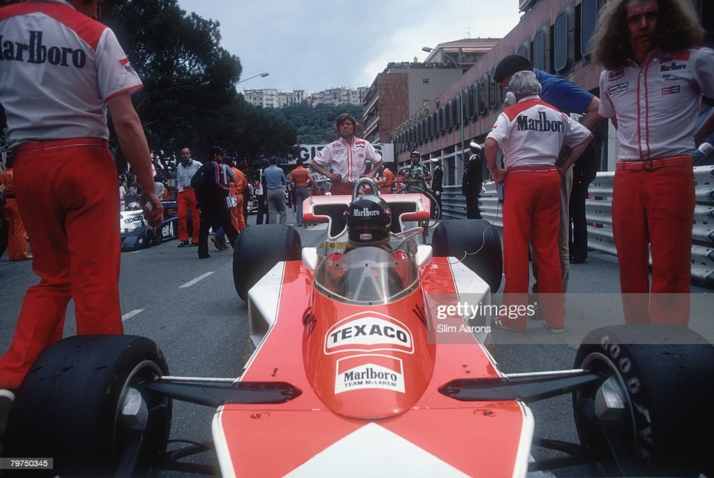 British racing driver James Hunt on the grid at the Monaco Grand Prix 22nd May 1977