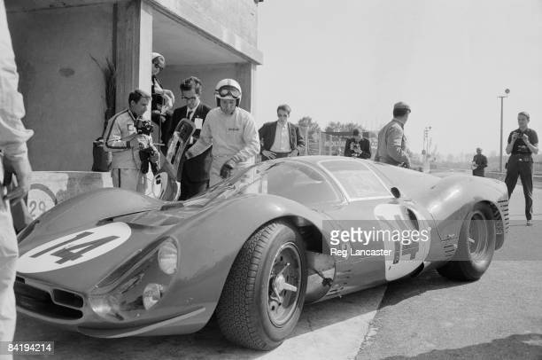 British racing driver John Surtees at Monza where he is testing the new Ferrari 330 P3 prototype 24th April 1966