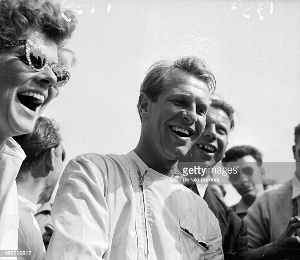 British racing driver Peter Collins celebrating his win at the British Grand Prix Silverstone July 19th 1958 Collins would be killed the same year at...
