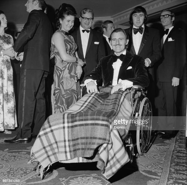 British racing drivers Graham Hill and Jackie Stewart at the British Racing Drivers' annual dinner UK 5th December 1969