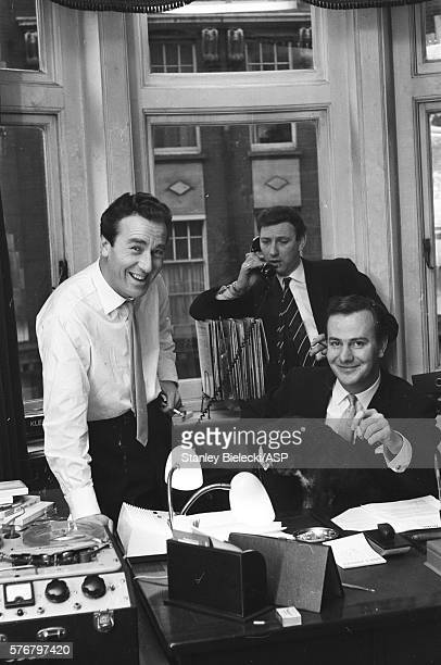 British radio and TV presenter and sports commentator Kent Walton and Keith Fordyce presenter of 'Thank Your Lucky Stars' and 'Ready Steady Go' in a...