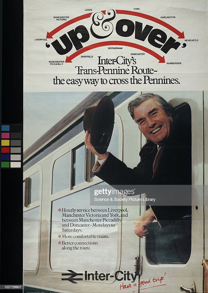 British Railway Poster. Inter-City's Trans, 1979. Up and Over'. Inter-City's Trans Pennine Route. 'The easy way to cross the Pennines', 1979.