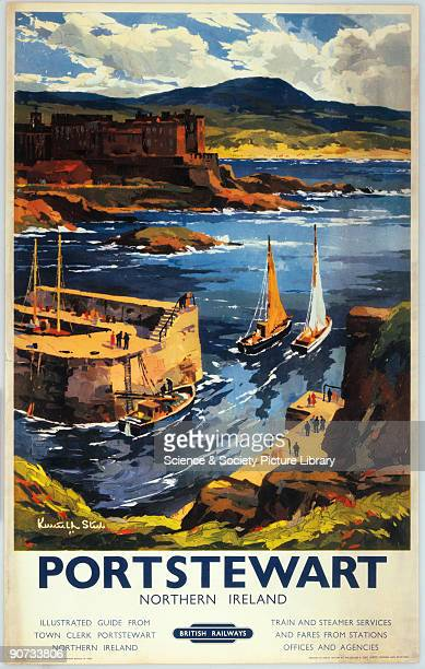 British Railways poster Artwork by Kenneth Steel depicting harbour and boats with hills in the background