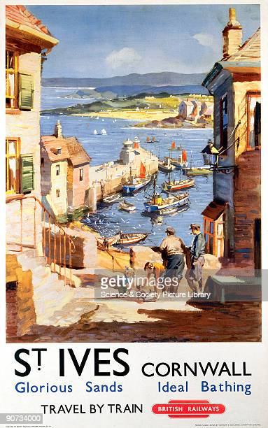British Railways poster of St Ives in Cornwall showing two fishermen and a group of children on a lane overlooking the harbour