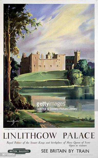 British Railways poster showing the palace across a loch with a couple in the foreground Artwork by Claude Buckle Printed by Stamford Co Ltd...