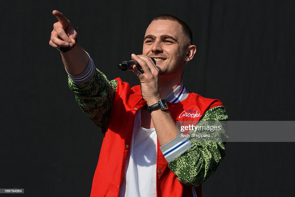British rapper Charlie Brown performs on stage at Allstarz Summer Party 2013 at Madejski Stadium on June 1, 2013 in Reading, England.