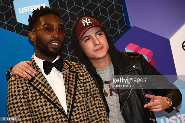 British rapper Tinie Tempah and Netherlands' actor Lil Kleine pose on the red carpet at the MTV Europe Music Awards on November 6 2016 at the Ahoy...