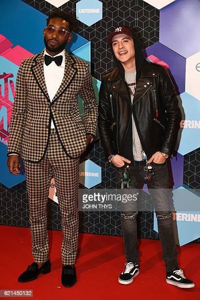 British rapper Tinie Tempah and Netherlands' actor Lil Kleine poses on the red carpet at the MTV Europe Music Awards on November 6 2016 at the Ahoy...