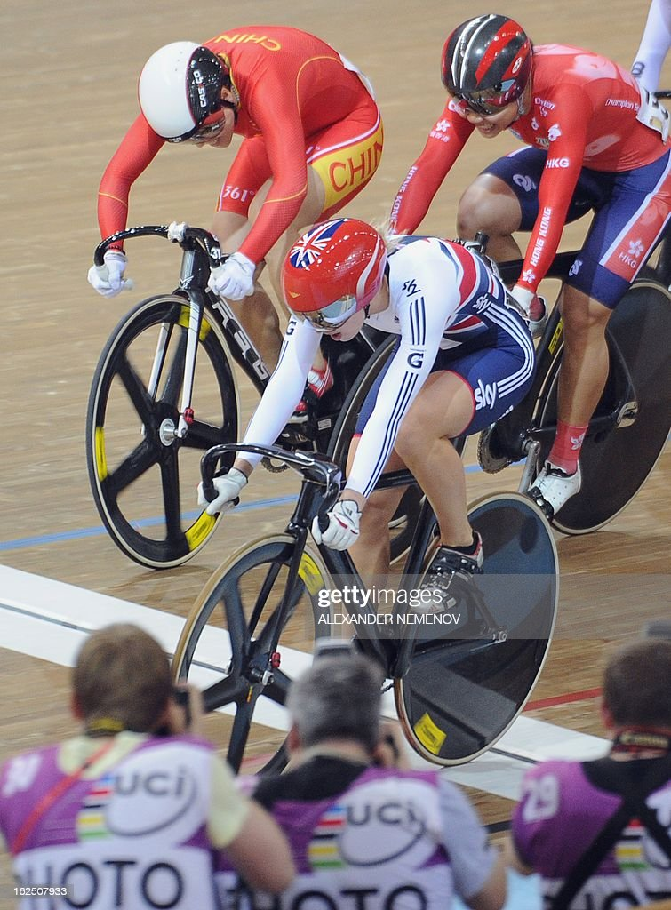 British Rebecca James (C) wins the women's keirin event of the UCI Track Cycling World Championships in Minsk on February 24, 2013.