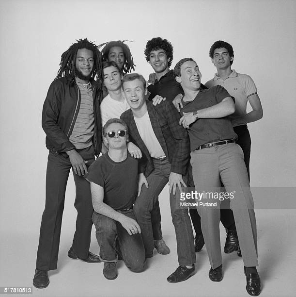 British reggae and pop group UB40 1983 Clockwise from left trumpeter Astro trombonist Norman Hassan bassist Earl Falconer singer Ali Campbell drummer...