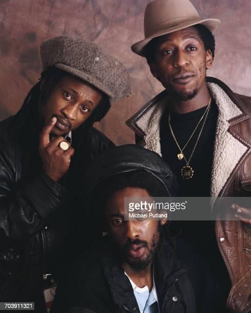 British reggae group Aswad London 1987 Left to right Brinsley Forde Drummie Zeb and Tony Robinson